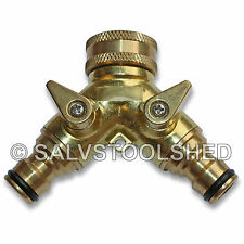 2 Way Brass Garden Hose Splitter Tap Connector Y Adaptor Two Outlet Connection