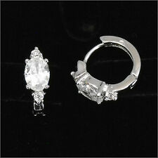 18k White GP Wedding Bridal Lady Party Earrings Hoop Costume Jewelr CZ Clear New