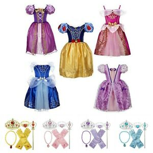 Girls Princess Costume Rapunzel Belle Snow White Fairytale Dress Accessory Set