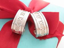 Auth Tiffany & Co Silver Atlas Roman Numerals Clip On Earrings