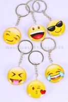 6 PC Emoji Keychain Double Sided Glass Dome Wholesale lot Party Gift 6 Keychains