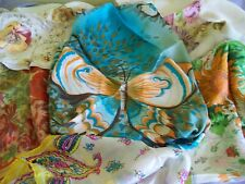 Antique Vintage Silk Scarf Lot Handrolled Edges Florals Butterfly Condition Fair