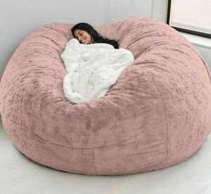 Microsuede 7ft Foam Giant Bean Bag Memory Chair Lazy Sofa Soft Cover No-Filling