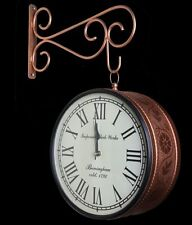 Indian Metal Brown Copper Double Sided Wall Clock Handcrafted Vintage Look Style