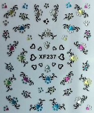 Nail Art 3D Decal Stickers Beautiful Hearts with Colorful Rhinestones XF237