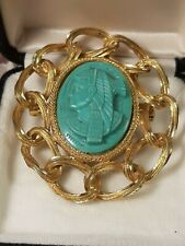 Vintage EGYPTIAN RIVAL BROOCH Pharaoh Faux Turquoise Gold Tone LARGE! TS1787