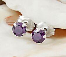 Genuine Amethyst 925 Sterling Silver Stud Earrings 3MM Round Gemstone Earrings