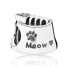Cat Bowl Charm Bead Genuine 925 Sterling Silver Meow Kitten Kitty Pet Animal UK