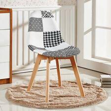 Tulip Chrono Patchwork Fabric Monochrome Dining Lounge Chair Seat Vintage Retro