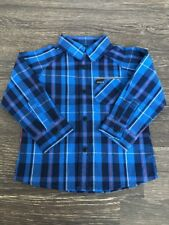 NWT Hurley Toddler Boys Long Sleeve Button Up Shirt   Size 12m   Blue Navy Red