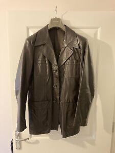 mens vintage leather jacket 70s Collar