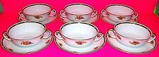 EPIAG CHINA SET OF 6 FLORAL FLOWER PATTERN CREAM SOUP BOWL CUP SAUCERS GOLD TRIM