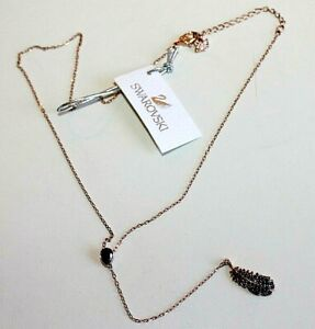SWAROVSKI Necklaces Crystal Naughty Lariat Rose tone Feather charm new