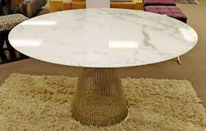Contemporary Modern Warren Platner Knoll Round Dinette Table Marble Wire 1980s