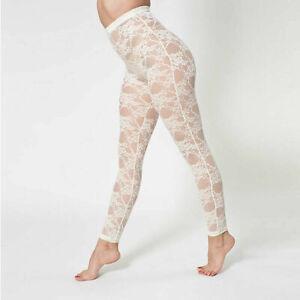 American Apparel Nylon Spandex Stretch Lace Legging - Creme