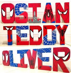 Spiderman letters names. Childrens Marvel Superhero Avengers Spider-Man batman