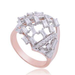 Certified Natural 1.40 Ct. SI/HI Baguette Diamond Ring 14k Rose Gold Jewelry NEW