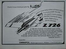 7/1975 PUB OMNIPOL ZLIN Z 726 TRAINER AEROBATIC AIRCRAFT FLUGZEUG ORIGINAL AD