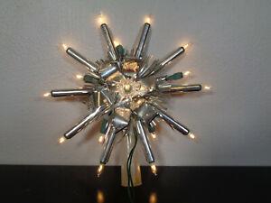 Vtg Silver ATOMIC Star Xmas Tree Topper 16 Lights Aluminum Foil MCM Works
