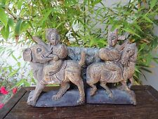 599 P. Antique Carved Wood Panel 2/pcs Artist with Foo Dog and Horse