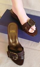 STUART WEITZMAN Fflip Flops Brown Leather Shoes Bronze Metal Buckle Sz 7 W Wedge