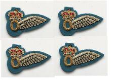 4 x RAF Half Wing Observer Brevet  Bullion Wire Badges On Blue Felt (nsn217)
