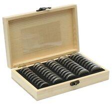 Boite en bois de pin rangement pièces monnaie 50 Capsules inclues - Numismatique