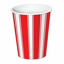 Red White Stripes Carnival Circus Theme Birthday Party 9 oz. Paper Cups