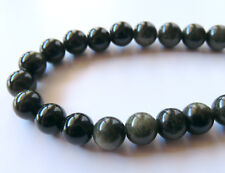 50pcs 8mm Round Natural Gemstone Beads - Golden Sheen Obsidian