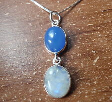 Chalcedon & Moonstone Double Gem 925 Sterling Silver Necklace Corona Sun Jewelry