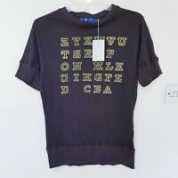 YMC You Must Create cotton shirt Top hipster Graphic Brown Ribbed Hem L XL