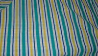 Vintage 1980's  Knit Jersey Stripe Blue Green Yellow White Fabric New