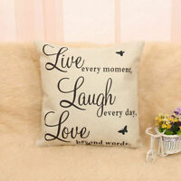 Live Laugh Love Quote Cushion Cover Decor Cotton Linen Throw Cases Pillow G4L1