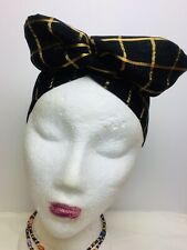 WIRED HEAD BAND BLACK GOLD FABRIC SCARF