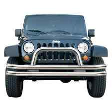 Rampage 8420 Stainless Double-Tube Front Bumper w/Hoop for Jeep CJ/Wrangler