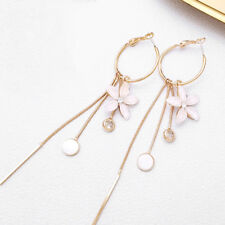 Drop Earrings Fashion Women Flower Tassel Dangle Crystal Wedding Jewelry