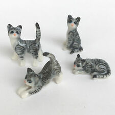 4 pieces Mini Cat Ceramic Set Blue Painted Figurines Gift Home Decoration