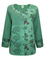 DWShop blouse top plus size 16 18 20 24 26 28 30 green buttonup patchwork cotton
