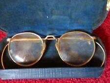 True Vtg 1940s Eye Glasses Frame Rimmed Hook Ear Gold Fill FUL-VUE Specs Mens