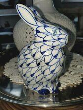 Andrea by Sadek 5.5� Blue Fishnet Bunny Rabbit Figurine Herend Style Hand Painte