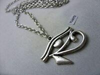 "A Egyptian Eye of Ra Tibetan Silver Charm Pendant, Long ( 30"" ) Chain Necklace"