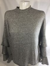 Soprano Women Gray Blouse Long Sleeve Soft Fabric Stretch Retail $29 Size Small