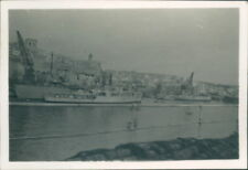 Photograph Malta 1953 Valletta Harbour Royal Navy Ships Moored 3.25 x 2.25 inch