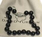 DAVID YURMAN Sterling Silver Spiritual Beads Bracelet Black Onyx 8mm Adjustable
