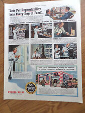 1944 Purina Mills Chows Store Ad  Let's Put Dependability into Every Bag of Feed
