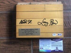 Magic Johnson Larry Bird Signed 8x10 Lakers Game Used Floor Board PSA Beckett
