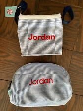 Nwt Oh Mint Boys Personalized Jordan Seersucker Snack Bag And Cosmetic Bag