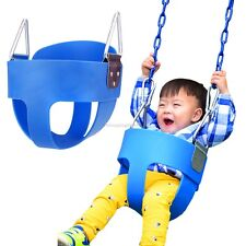 Blue US  Full Bucket Swing High Back Seat Home Backyard Toddler Child