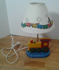 Wooden Train Table Lamp w/Shade Child Baby Infant Toddler Nursery Primary Colors