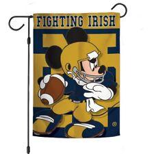 "Notre Dame Fighting Irish Mickey Mouse Garden Flag 12""X18"" Yard Banner Disney"